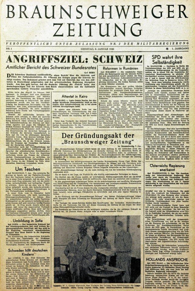 """""""Angriffsziel Schweiz"""": So titelte die Braunschweiger Zeitung acht Monate nach dem Zweiten Weltkrieg am 8. Januar 1946. In dem Artikel geht es um Annexionspläne der deutschen Regierung während des Krieges."""